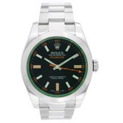Rolex Stainless Steel Green Milgauss Automatic Wristwatch Ref 116400V