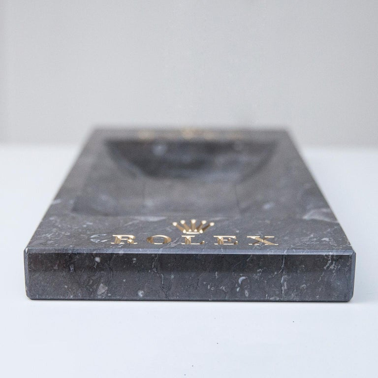 Swiss Rolex Grey Marble Desk Accessory, 1970 For Sale