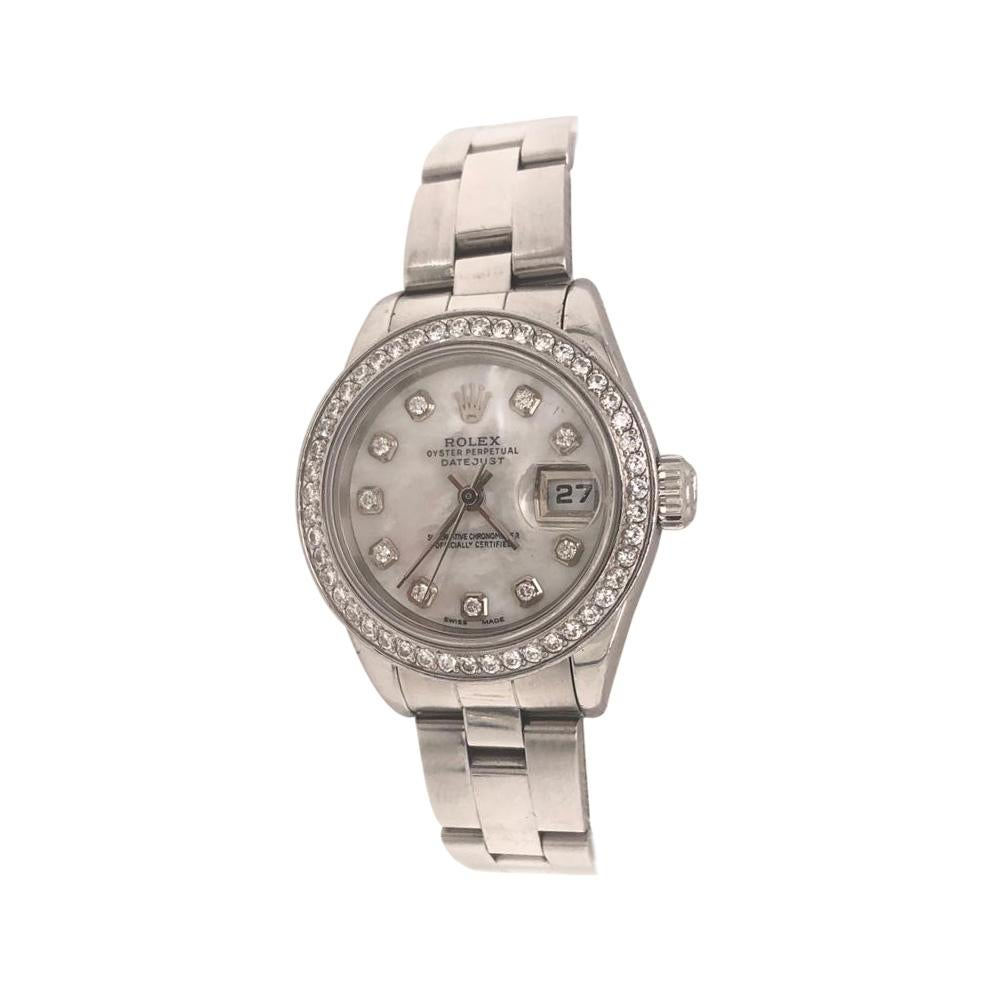 Rolex Oyster Perpetual Date Just Women's Stainless Steel Diamond Ladies Watch