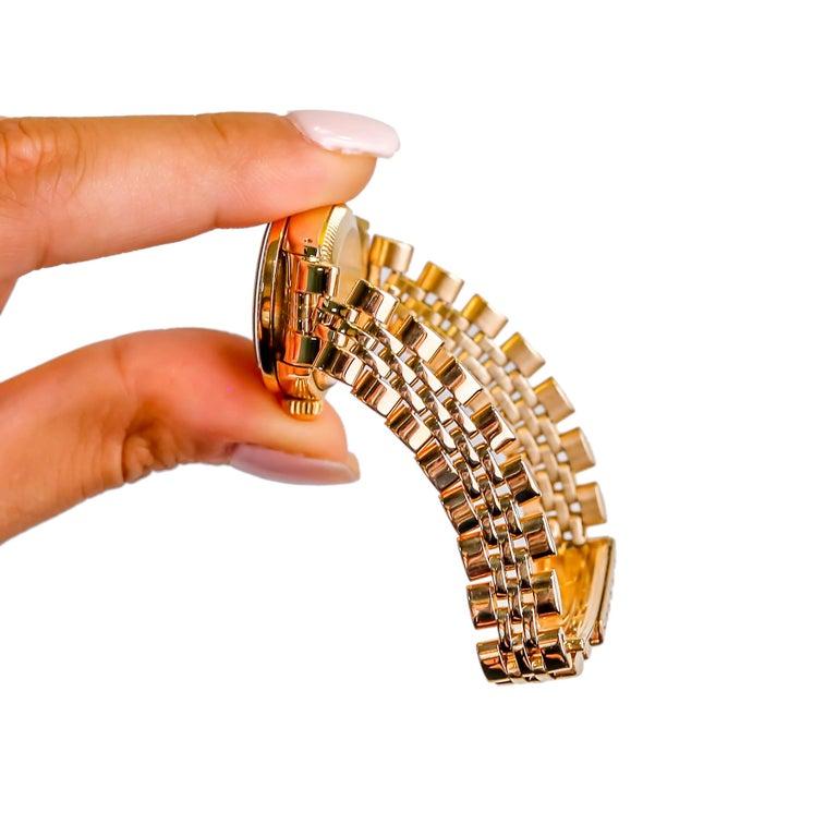 Rolex Ladies 14K Yellow Gold Jubilee Custom Diamond Dial Automatic Wristwatch For Sale 4