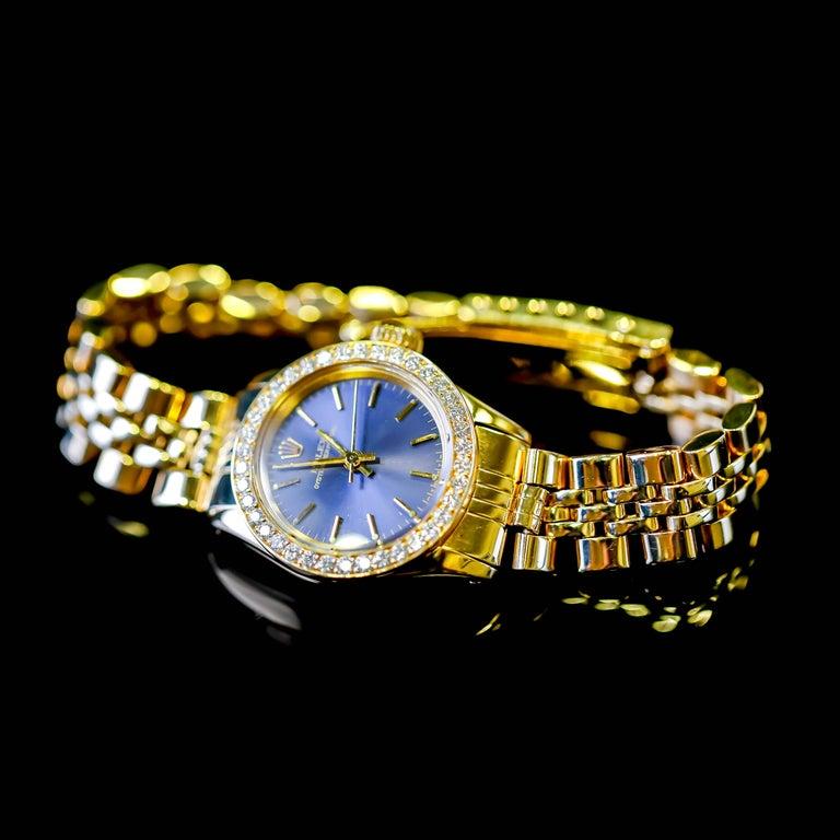 Rolex Ladies 14K Yellow Gold Jubilee Custom Diamond Dial Automatic Wristwatch For Sale 5
