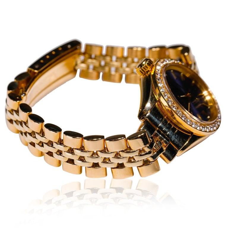 Modern Rolex Ladies 14K Yellow Gold Jubilee Custom Diamond Dial Automatic Wristwatch For Sale