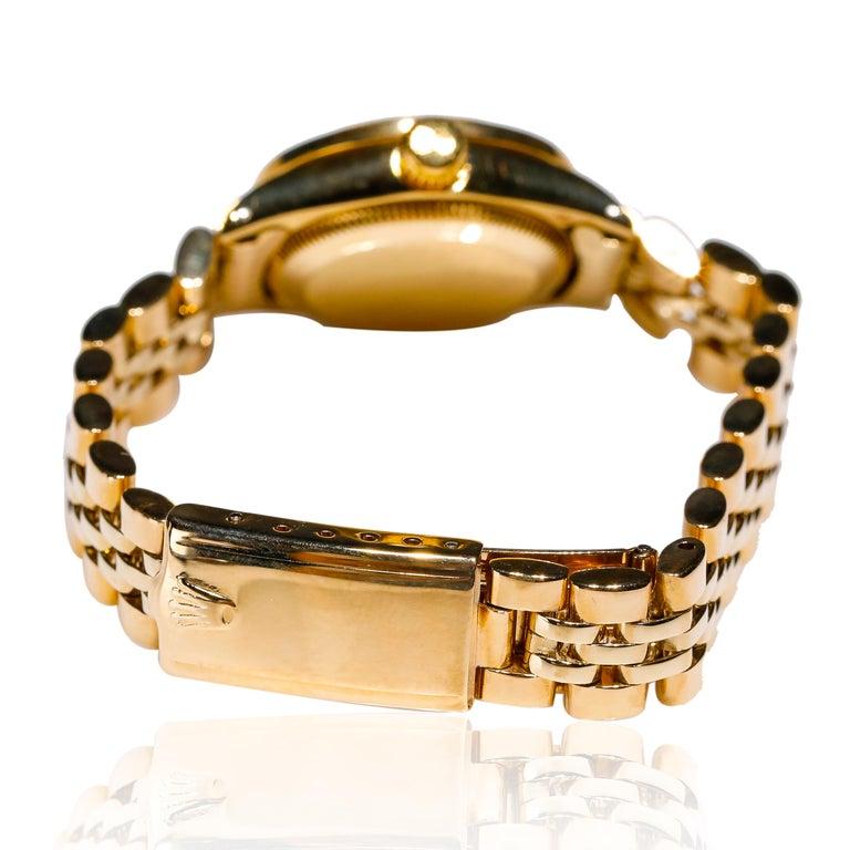 Round Cut Rolex Ladies 14K Yellow Gold Jubilee Custom Diamond Dial Automatic Wristwatch For Sale