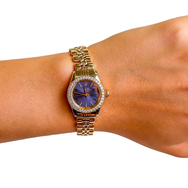 Rolex Ladies 14K Yellow Gold Jubilee Custom Diamond Dial Automatic Wristwatch In Excellent Condition For Sale In New York, NY