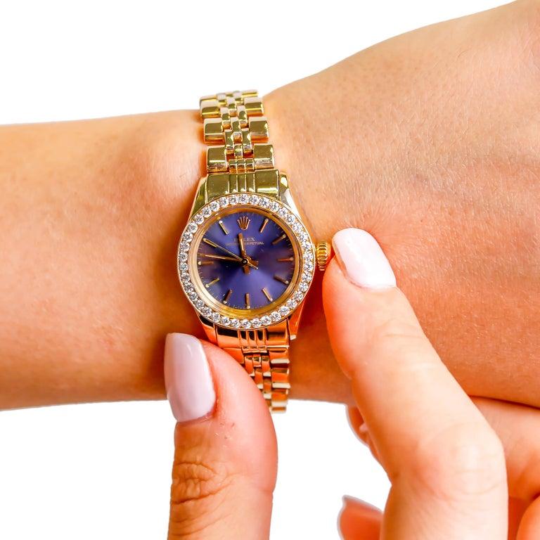Women's Rolex Ladies 14K Yellow Gold Jubilee Custom Diamond Dial Automatic Wristwatch For Sale