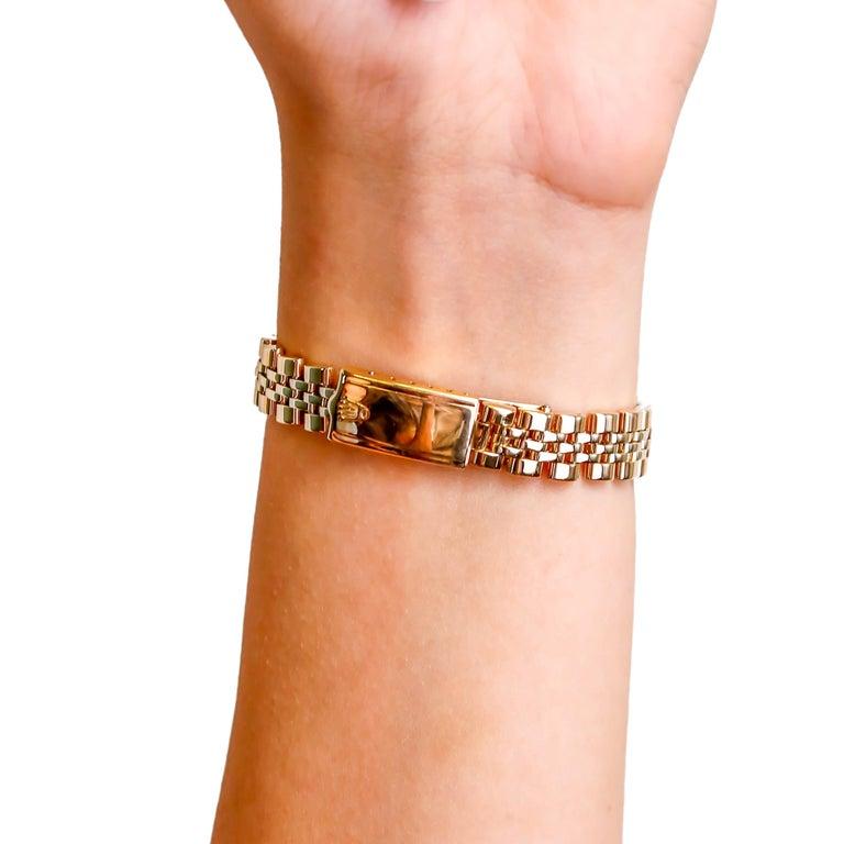 Rolex Ladies 14K Yellow Gold Jubilee Custom Diamond Dial Automatic Wristwatch For Sale 1