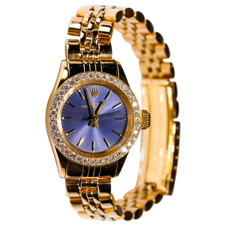 Rolex Ladies 14K Yellow Gold Jubilee Custom Diamond Dial Automatic Wristwatch For Sale
