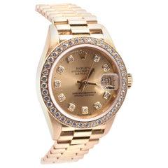 Rolex Ladies 18 Karat Yellow Gold Datejust President Ref. 69138