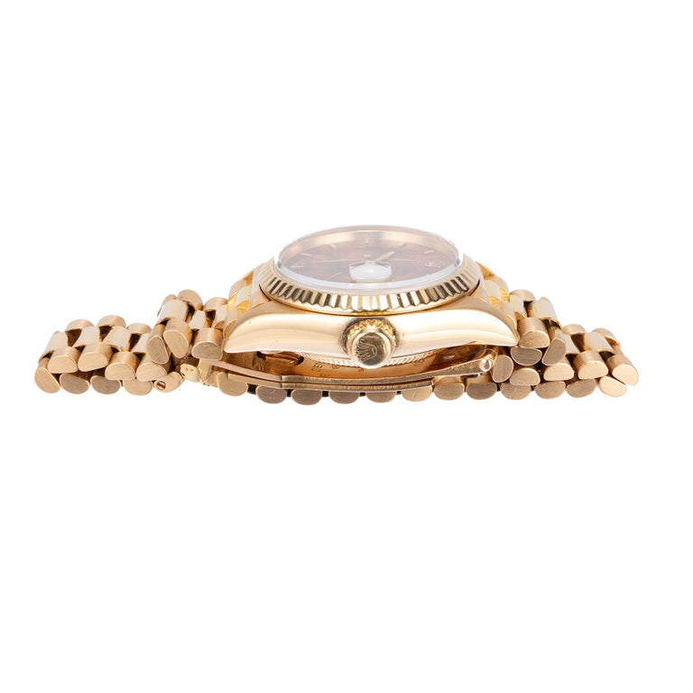 Women's Rolex Ladies 18 Karat Yellow Gold President Wristwatch For Sale