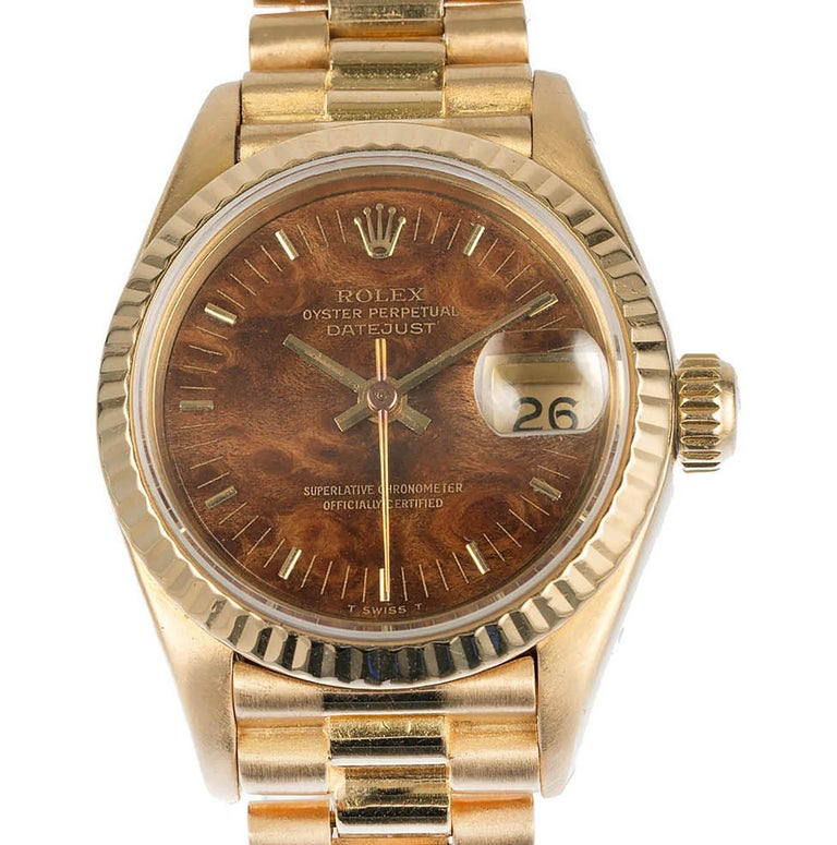 Rolex Ladies 18 Karat Yellow Gold President Wristwatch For Sale