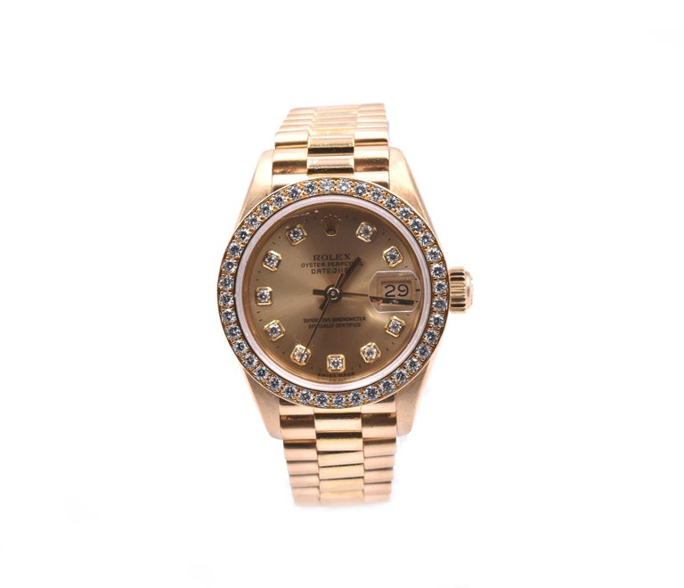 Rolex Ladies 18 Karat Yellow Gold Datejust President Ref. 69138 In Excellent Condition For Sale In Scottsdale, AZ