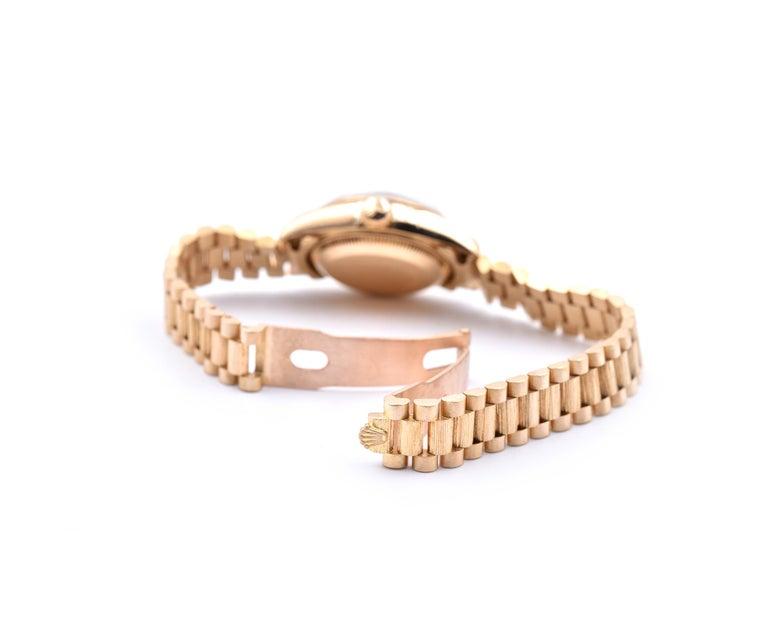 Women's or Men's Rolex Ladies 18 Karat Gold Datejust with Engine Turned Bezel Watch Ref. 69178 For Sale