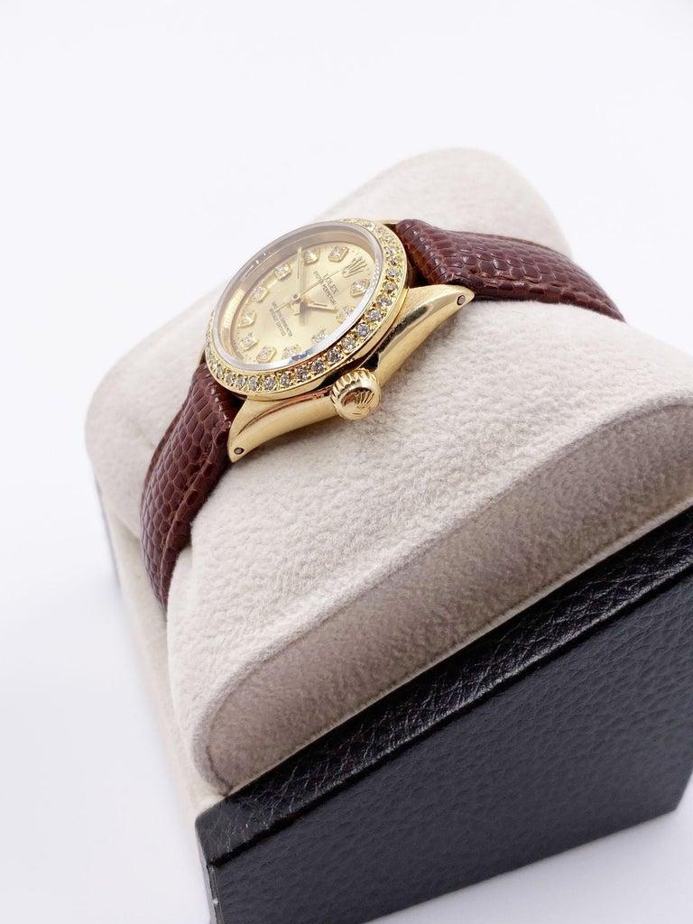 Women's Rolex Ladies 6619 Oyster Perpetual Diamond Bezel Diamond Dial 18 Karat Gold For Sale