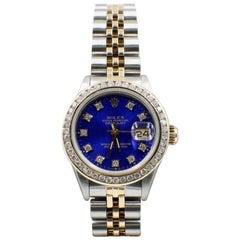 Rolex Ladies 69173 Datejust 18 Karat Gold and Stainless Steel Blue Diamond Dial