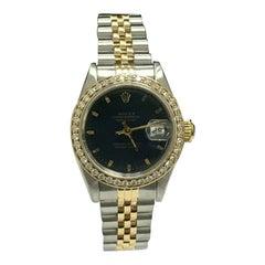 Rolex Ladies 69173 Datejust 18 Karat Gold Stainless Diamond Bezel Box Papers