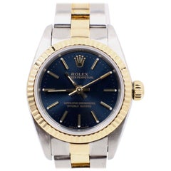 Rolex Ladies 76193 Oyster Perpetual Blue 18 Karat Gold and Steel Box and Papers