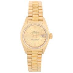 Rolex Ladies Bark President Gold Watch 69278