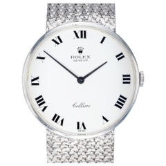 Rolex Ladies Cellini White Gold White Dial Mesh Wristwatch