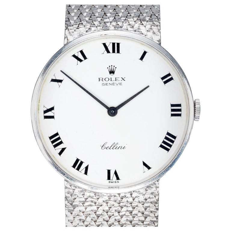 Rolex Ladies Cellini White Gold White Dial Mesh Wristwatch For Sale