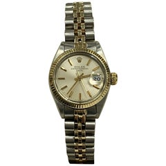Rolex Ladies Date 6916 Silver Dial 14 Karat Yellow Gold Stainless Steel