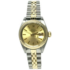 Rolex Ladies Date 6917 Champagne Dial 14 Karat Yellow Gold Stainless Steel