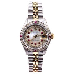Rolex Ladies Date 6917 MOP Diamond Ruby Dial Bezel 14 Karat Gold Stainless