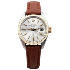 Rolex Ladies Date 6917 Silver Dial 14 Karat Gold Stainless Steel Leather Band