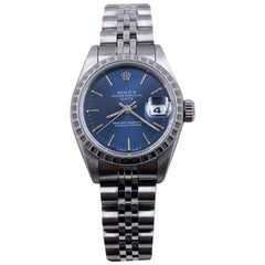 Rolex Ladies Date 69240 Blue Dial Stainless Steel Box Papers