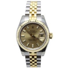 Rolex Ladies Datejust 179173 18 Karat Yellow Gold and Stainless Box Booklet