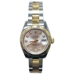 Rolex Ladies Datejust 179173 18 Karat Gold and Steel Original Diamond Dial