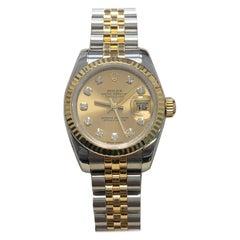 Rolex Ladies Datejust 179173 Diamond Dial 18 Karat Gold Steel Box Papers, 2007