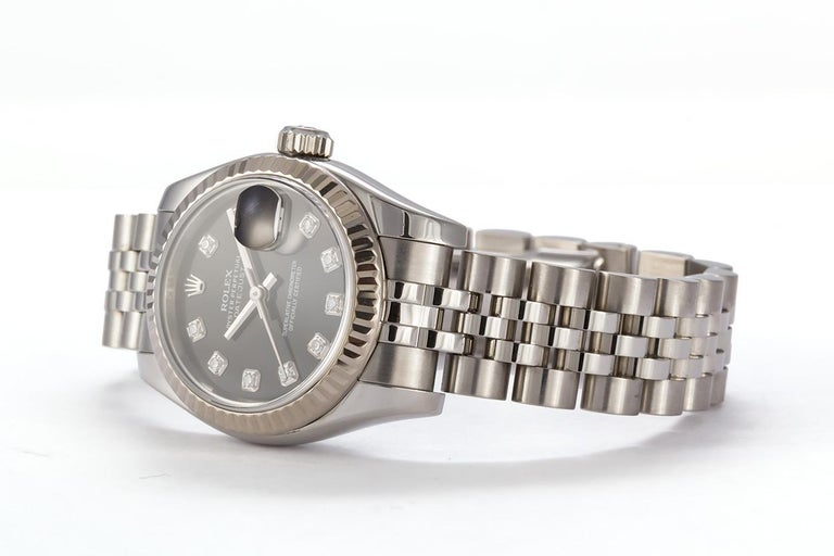 Contemporary Rolex Ladies Datejust Stainless Steel 179174 Diamond Dial Box and Papers For Sale