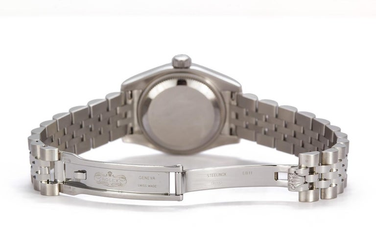 Rolex Ladies Datejust Stainless Steel 179174 Diamond Dial Box and Papers In Excellent Condition For Sale In Tustin, CA