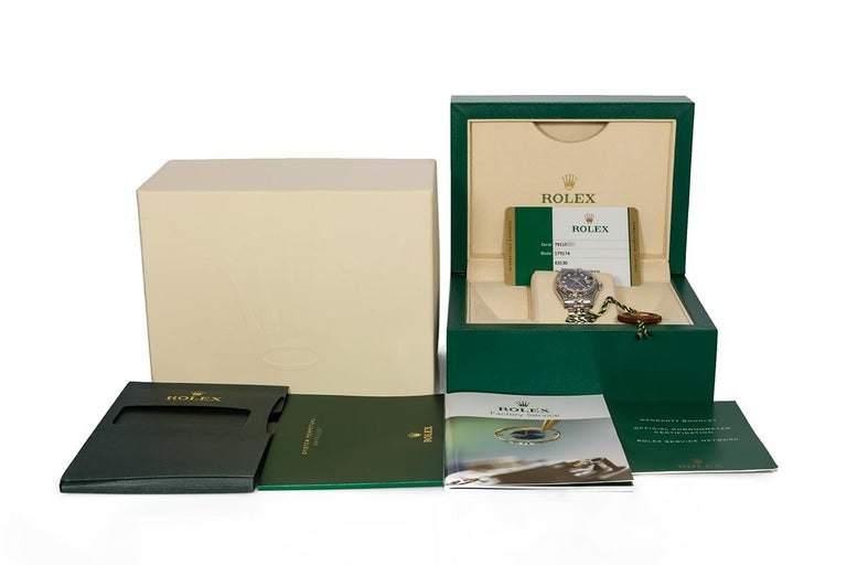 Rolex Ladies Datejust Stainless Steel 179174 Diamond Dial Box and Papers For Sale 2
