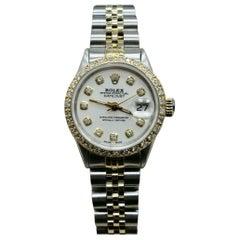 Rolex Ladies Datejust 6516 Diamond Dial Diamond Bezel 14 Karat Gold and Steel