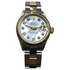 Rolex Ladies Datejust 6516 MOP Diamond Dial 18K Yellow Gold & Stainless Steel