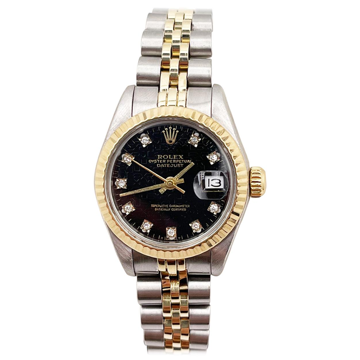 Rolex Ladies Datejust 69160 Black Jubilee Diamond Dial 18K Yellow Gold Stainless