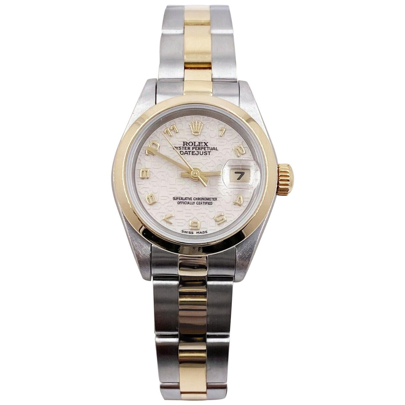 Rolex Ladies Datejust 69163 Jubilee Anniversary Dial 18 Karat Gold Stainless