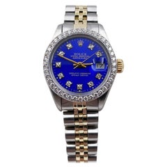 Rolex Ladies Datejust 6917 Blue Diamond Dial Diamond Bezel 14 Karat Gold Steel