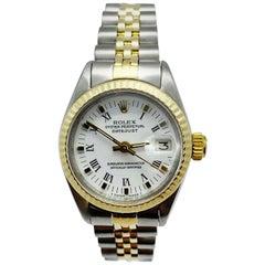 Rolex Ladies Datejust 6917 White Dial 14 Karat Yellow Gold Stainless Steel