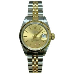 Rolex Ladies Datejust 69173 Champagne 18K Gold Stainless Box Paper Mint Band