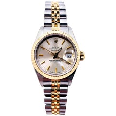 Rolex Ladies Datejust 69173 Silver Dial 18 Karat Yellow Gold Stainless Steel