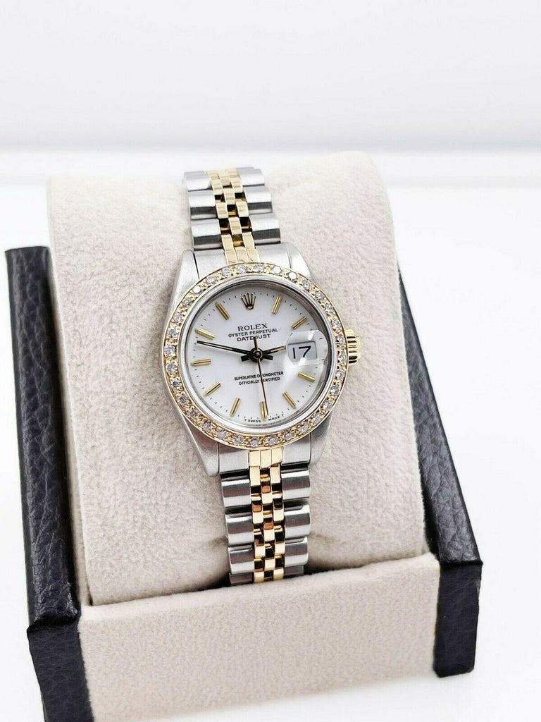 Women's or Men's Rolex Ladies Datejust 69173 White Dial Diamond Bezel 18k Yellow Gold Stainless For Sale