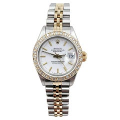 Rolex Ladies Datejust 69173 White Dial Diamond Bezel 18k Yellow Gold Stainless