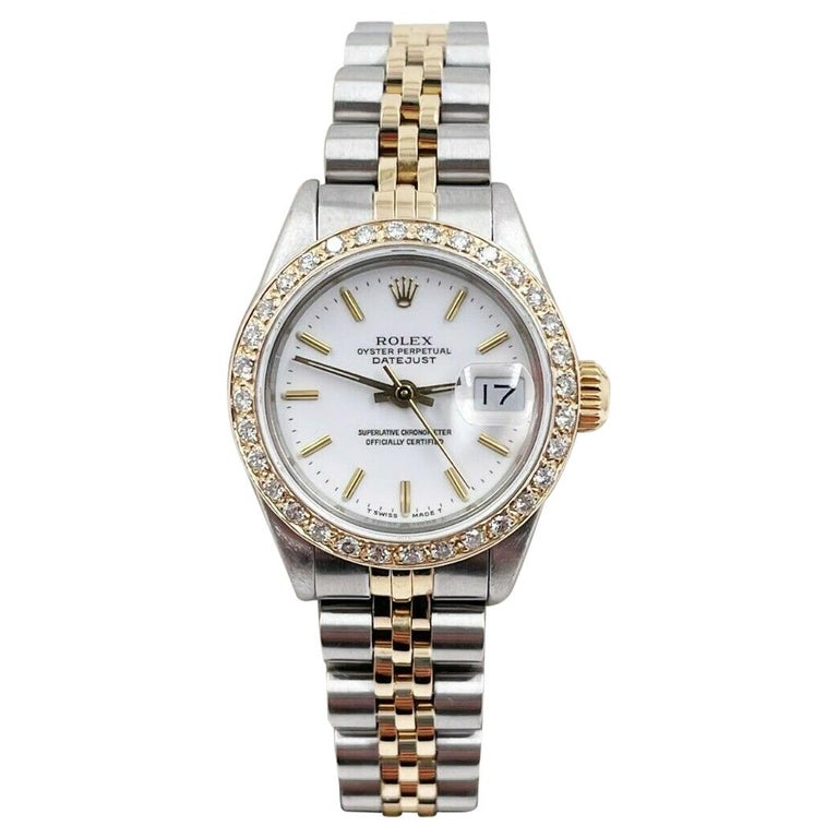 Rolex Ladies Datejust 69173 White Dial Diamond Bezel 18k Yellow Gold Stainless For Sale