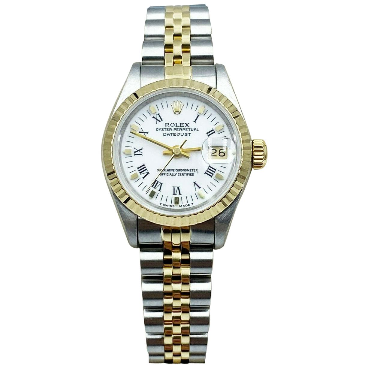 Rolex Ladies Datejust 69173 White Roman Dial 18K Yellow Gold Stainless Steel