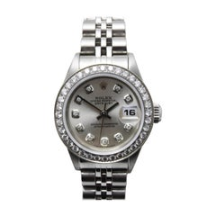 Rolex Ladies Datejust 69174 Silver Diamond Dial Diamond Bezel Stainless Steel