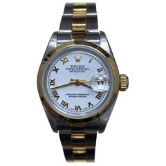 Rolex Ladies Datejust 79163 White Dial 18 Karat Yellow Gold and Stainless Steel