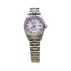 Rolex Ladies Datejust 79174 White Roman Dial 18K & Stainless Steel Box & Papers