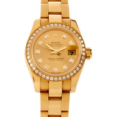 Rolex Ladies-Datejust Diamond Face 18 Karat Gold Watch Ref 179138